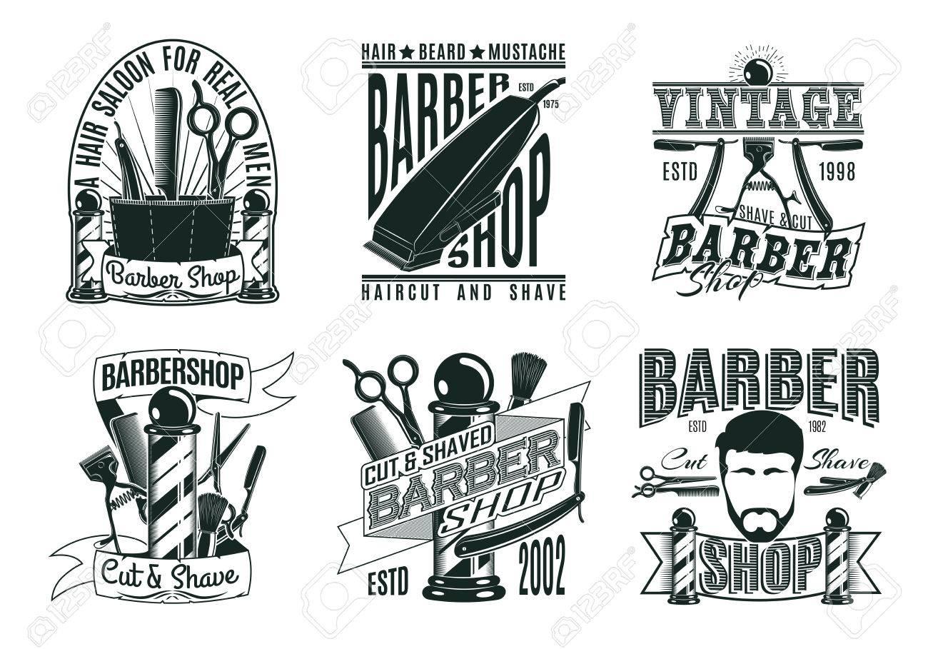 Best Monochrome Vintage Barber Shop Logos Set With Inscriptions Haircut  MO01
