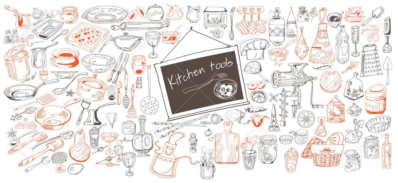 食器台所用品調味料装置野菜とツール分離ベクトル イラスト手描き