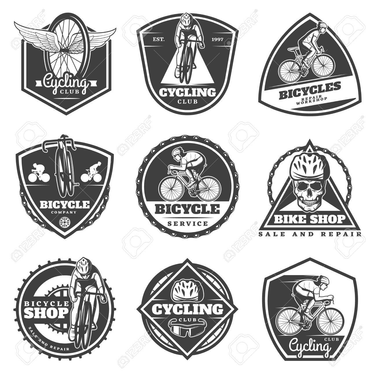 Monochrome cycling labels set with cyclists riding bikes sport equipment bicycle parts and skull isolated vector illustration - 77101269