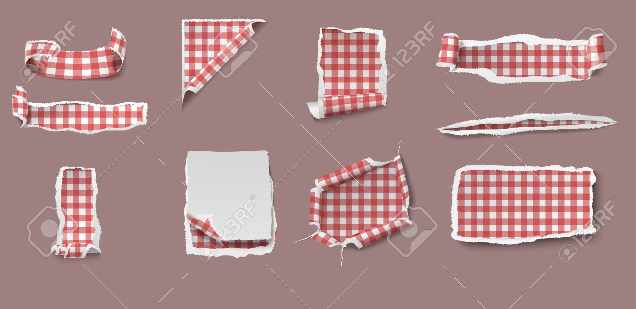 Merveilleux Colorful Torn And Ragged Paper Set Of Different Shapes With Gingham  Tablecloth Pattern Isolated Vector Illustration