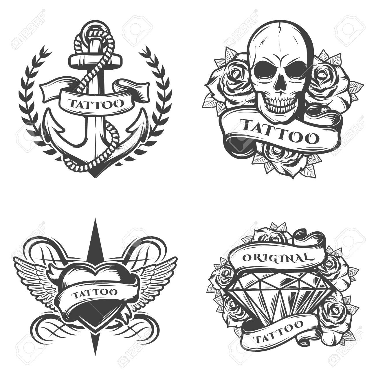 Vintage Tatuaje Estudio Emblemas Conjunto Con Ancla Cuerda Cráneo