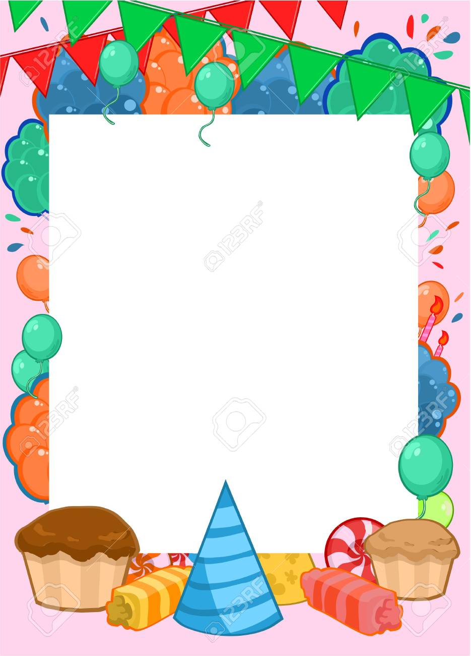 Happy birthday invitation bright template with frame for text happy birthday invitation bright template with frame for text and colorful party elements vector illustration stock stopboris Gallery