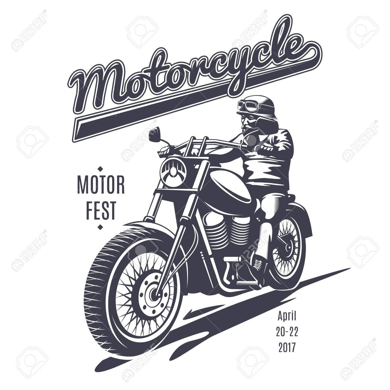 Vintage Moto Fest Logotype Template With Biker Riding Motorcycle ...