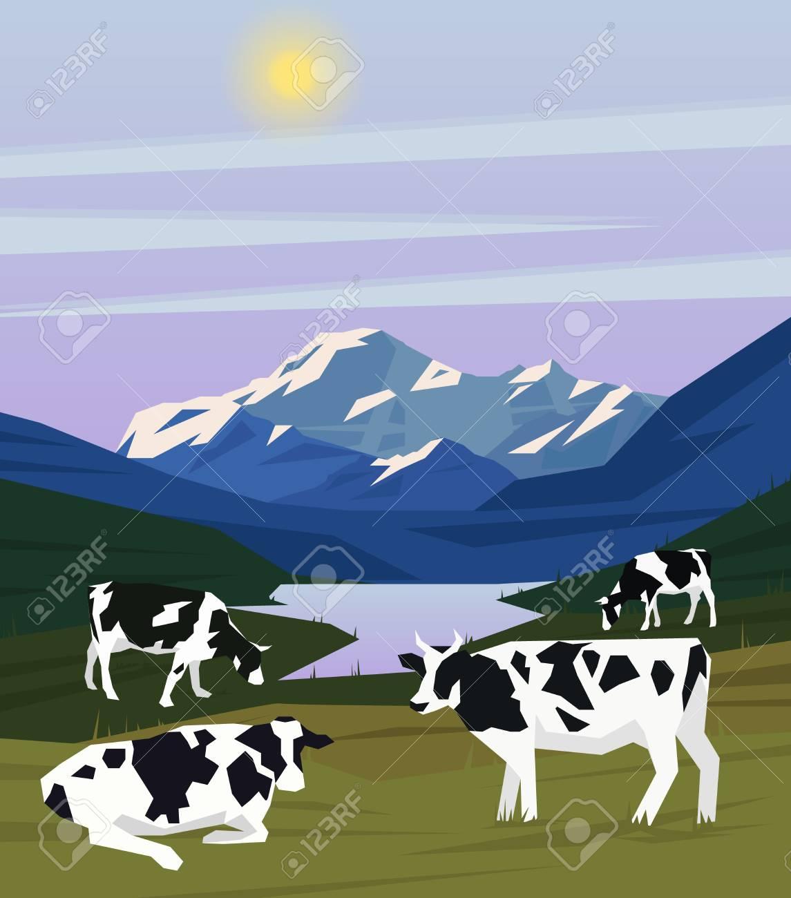 Plantilla De Dibujo Colorido Paisaje Naturaleza Con Montañas Del ...