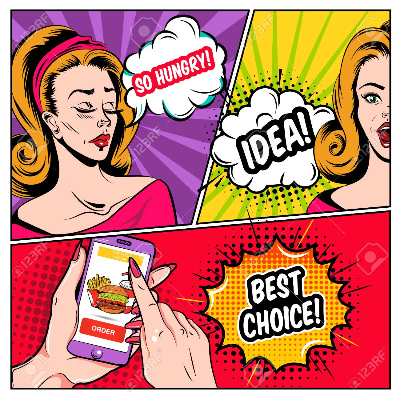 Comic Online Shopping Template With Hungry Women Placing Order