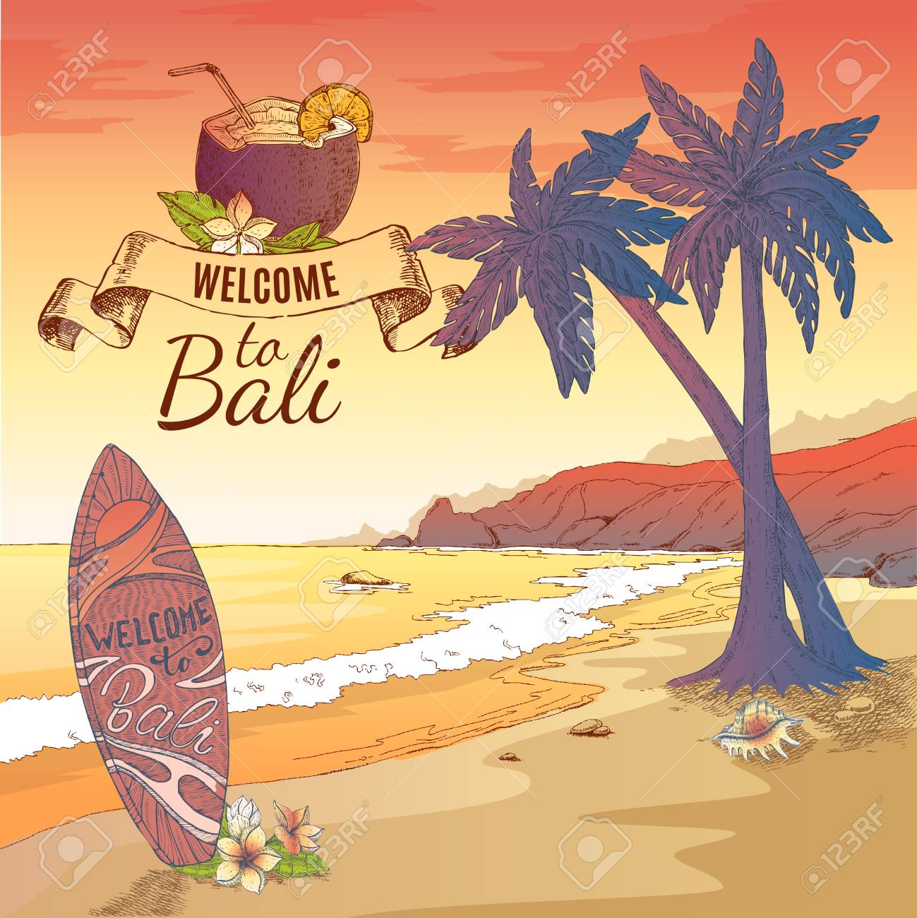 Welcome to bali background royalty free cliparts vectors and stock vector welcome to bali background thecheapjerseys Gallery