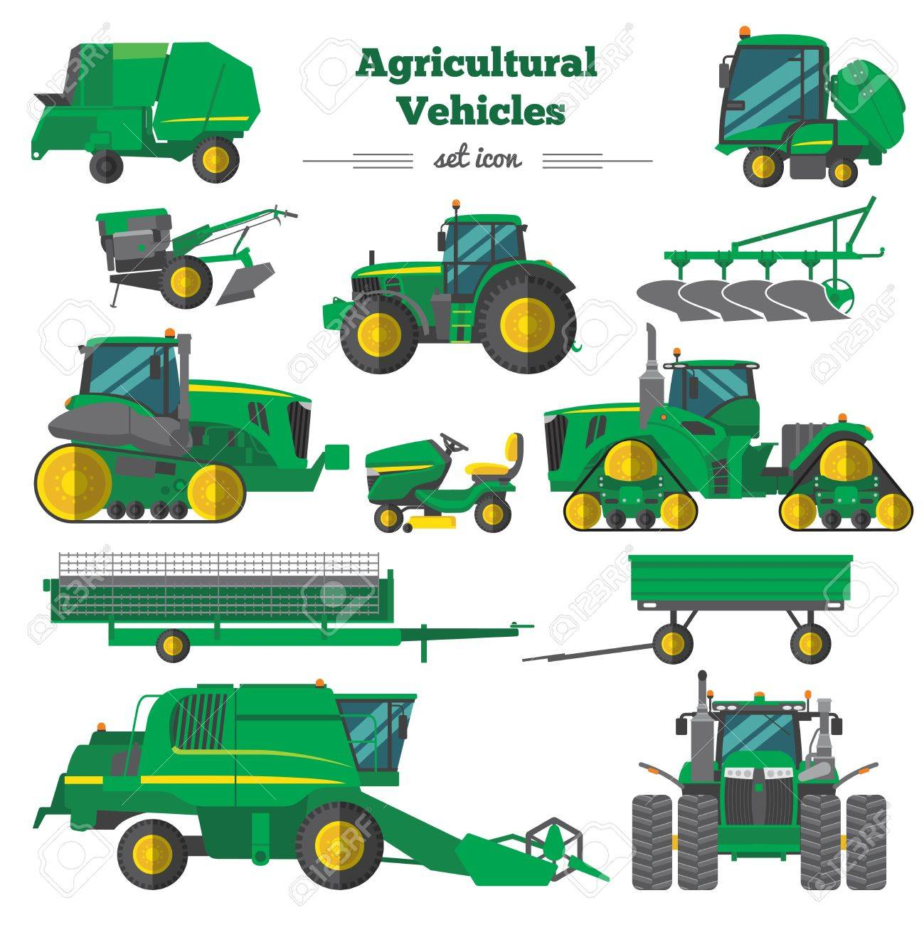 Agricultural Vehicles Flat Icons Set vector illustration. - 85130981