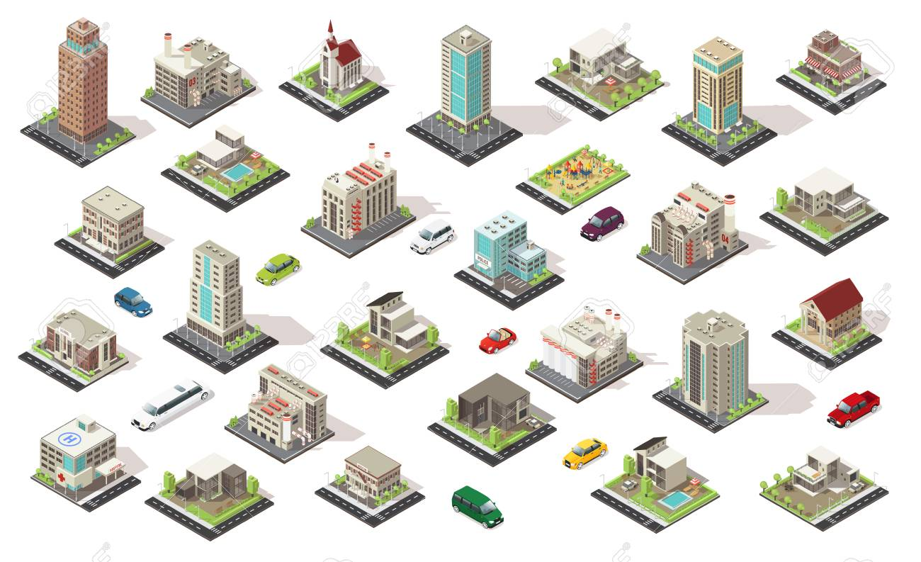 Isometric city elements collection with living and municipal buildings suburban houses playground transport isolated illustration. - 85720113