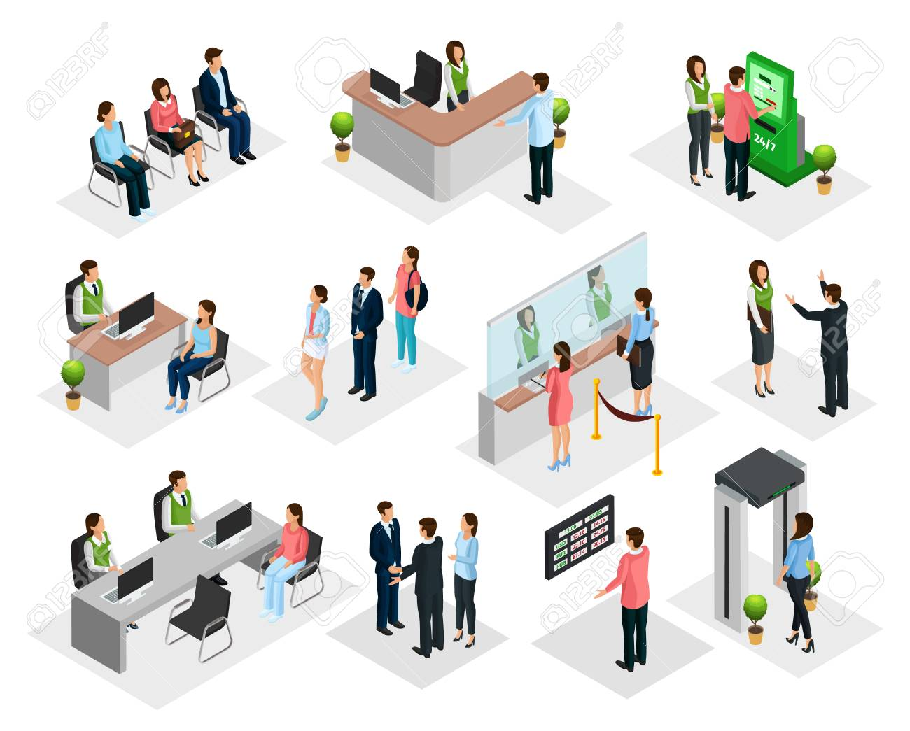 Isometric People In Bank Collection - 86422863