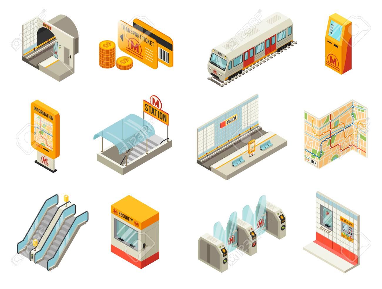 Isometric Metro Station Elements Set - 88836064