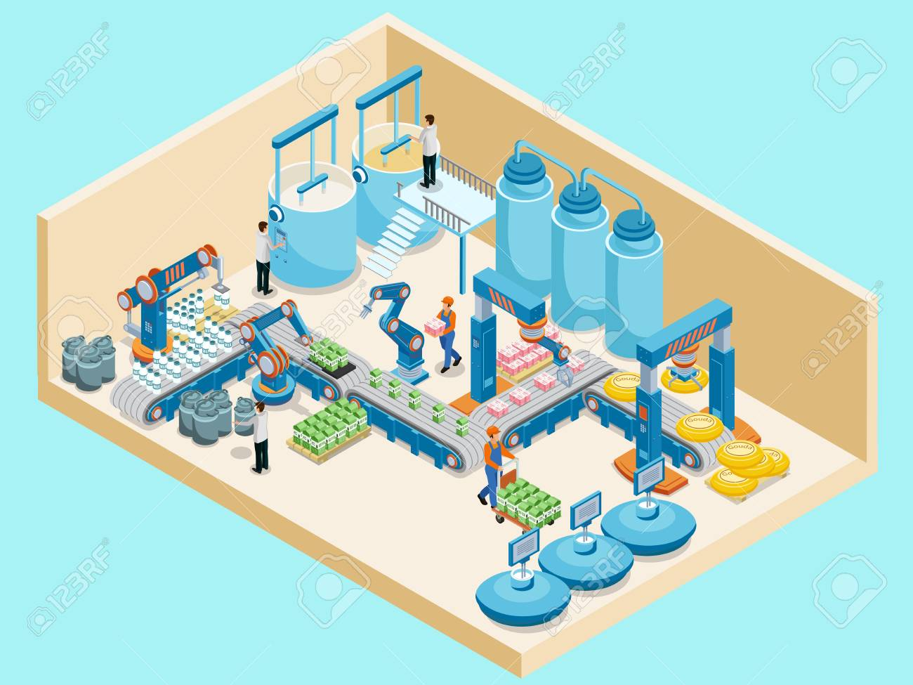 Isometric Dairy Plant Template on plain background. - 89462295