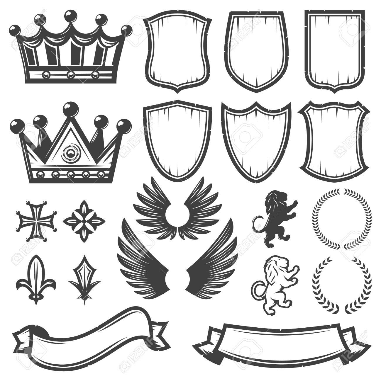 Vintage Monochrome Heraldic Elements Collection - 90134918