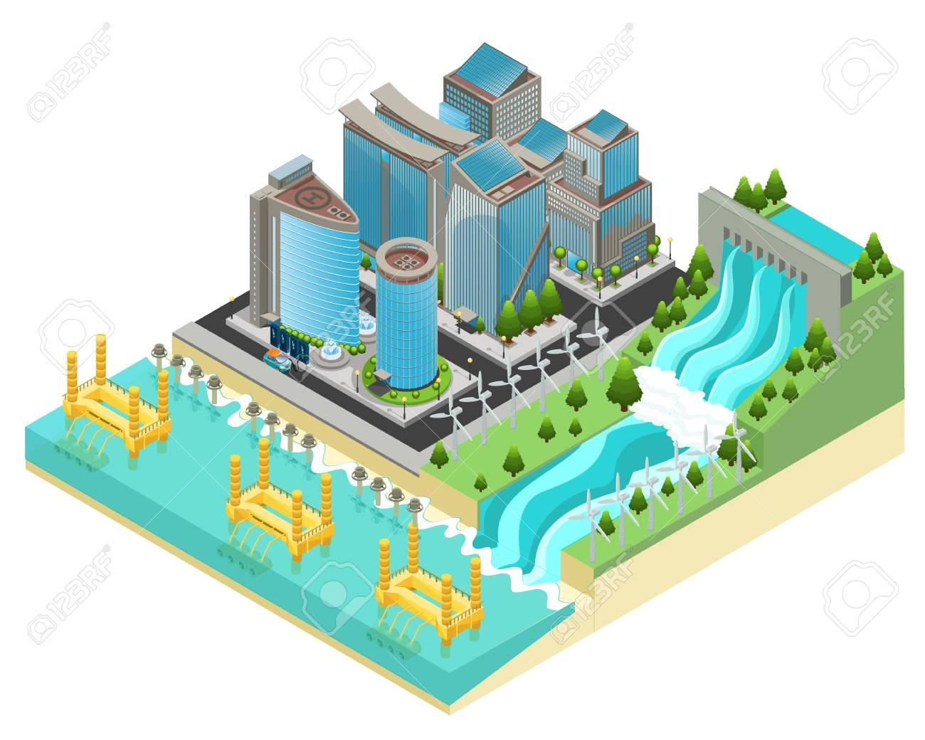Isometric Eco City Template - 90373806