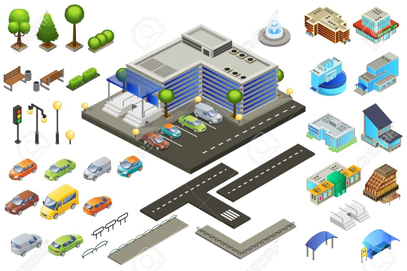 Isometric Supermarket Elements Set - 93626139