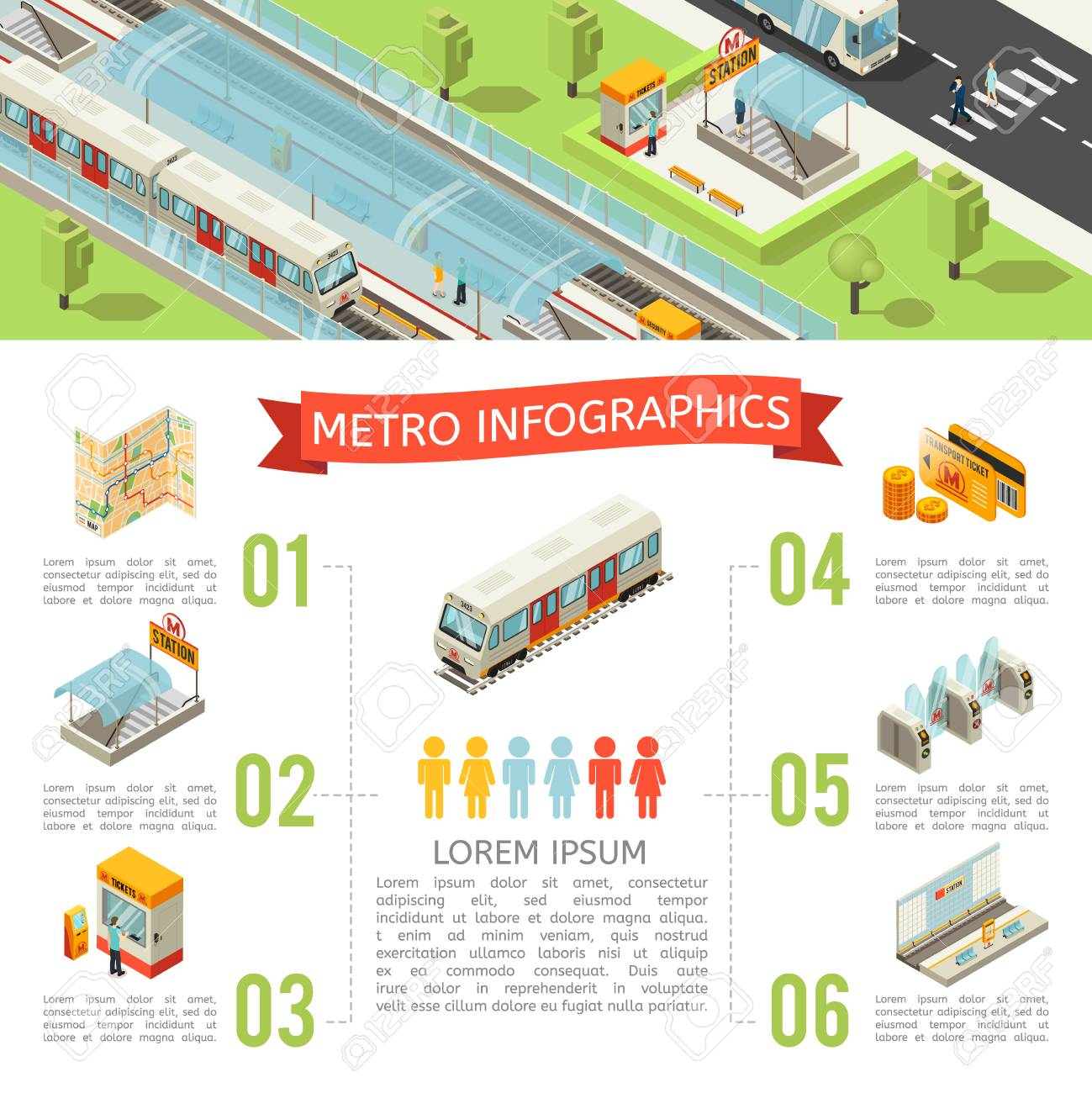 Cards With Subway Map.Isometric Metro Infographic Concept With Map Subway Entrance