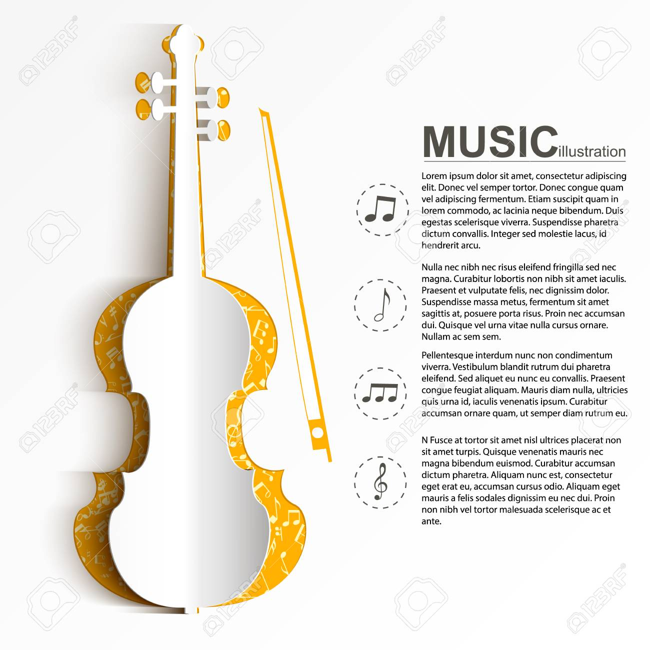 Musical Instrument Template With Text Paper White Violin Silhouette