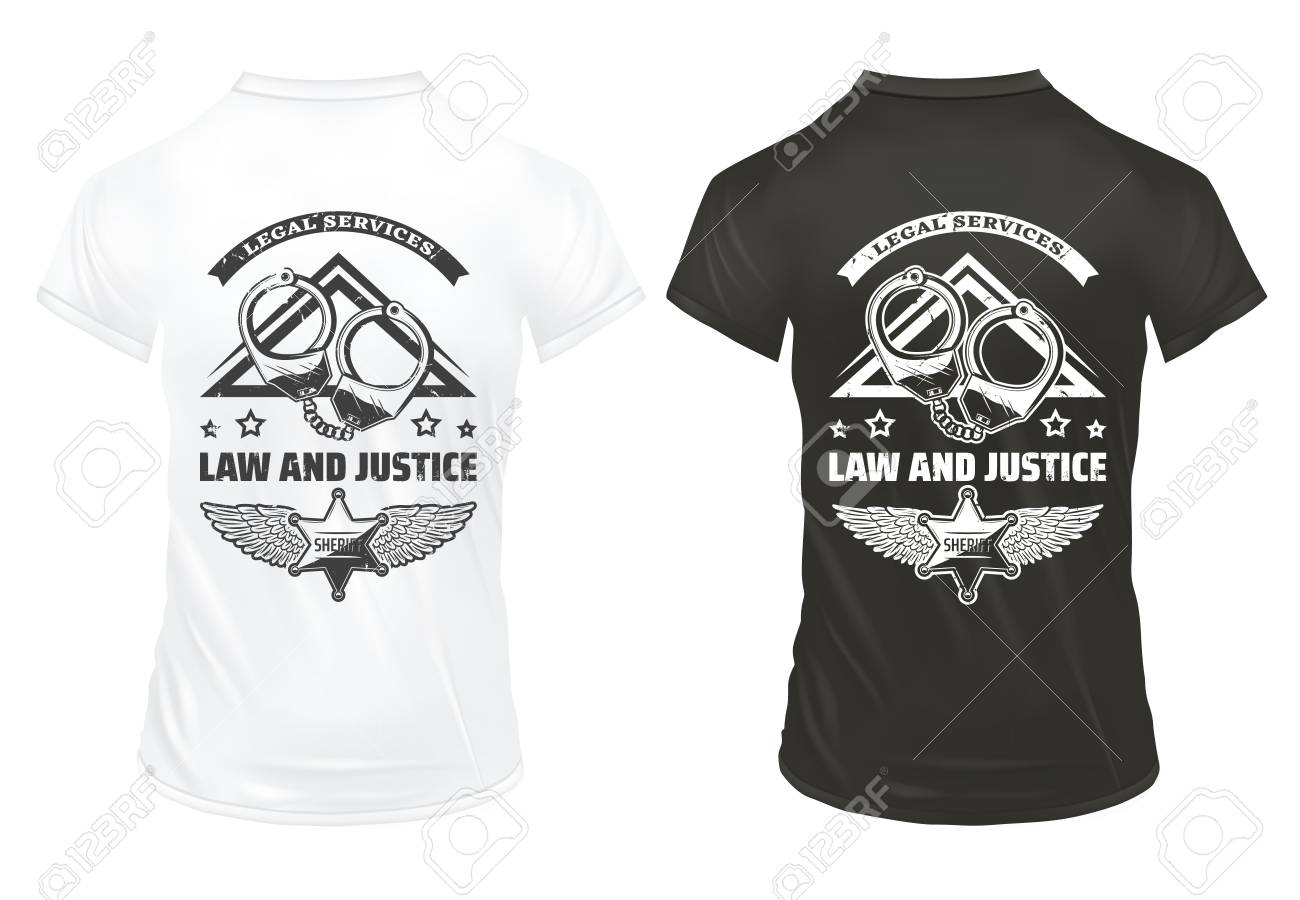 Vintage Law And Justice Prints Template With Inscription Handcuffs