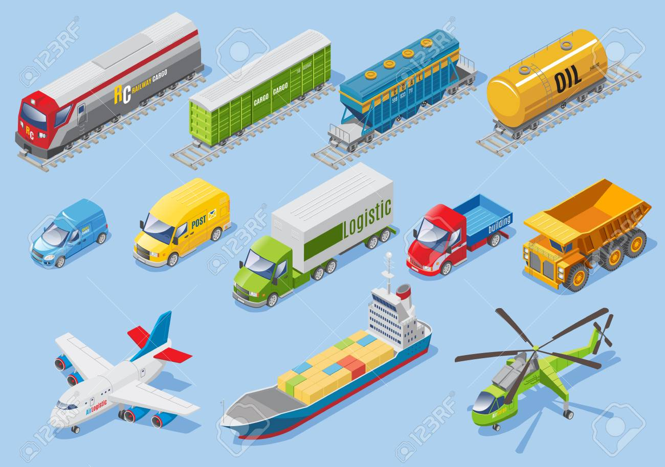 Isometric logistic transportation set with various type of transportations - 97635450