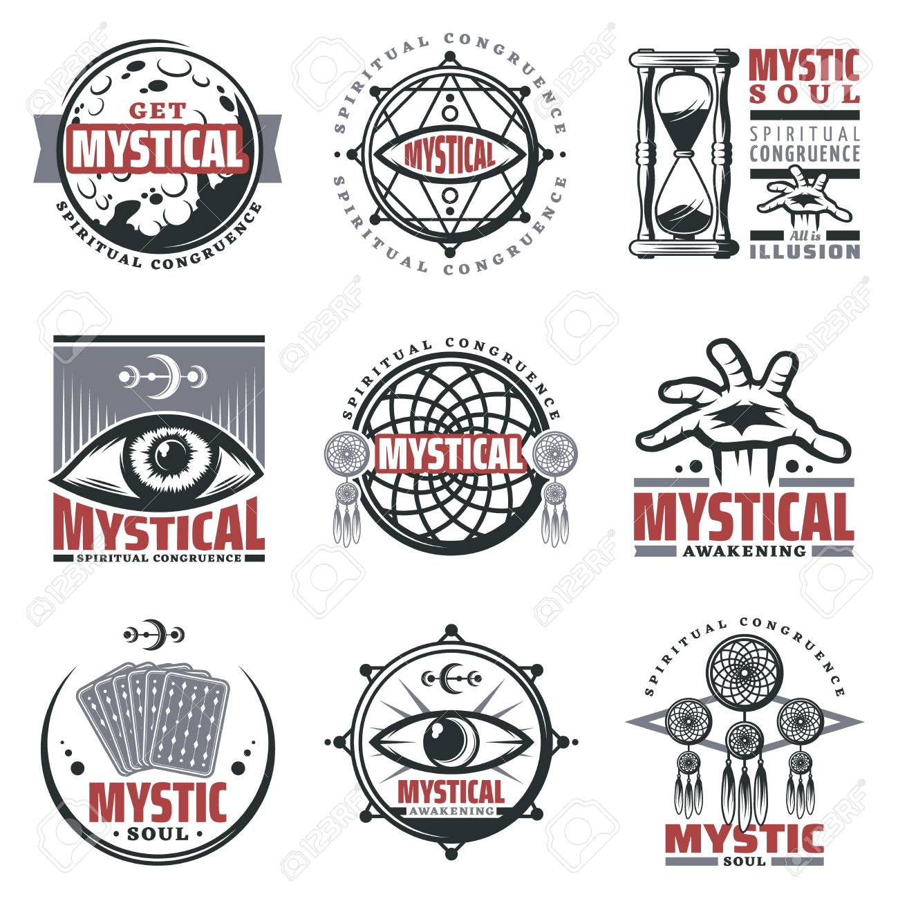 Vintage Mystical Spiritual Emblems Set With Inscriptions Moon