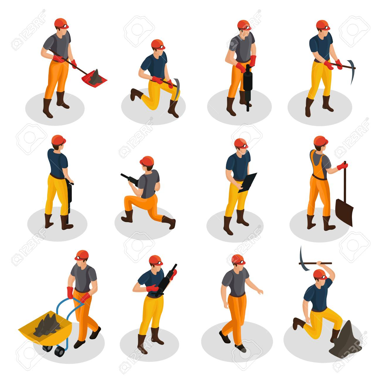 Isometric mining characters set wearing uniform and working with mining equipment and manual labor tools isolated vector illustration - 98208409