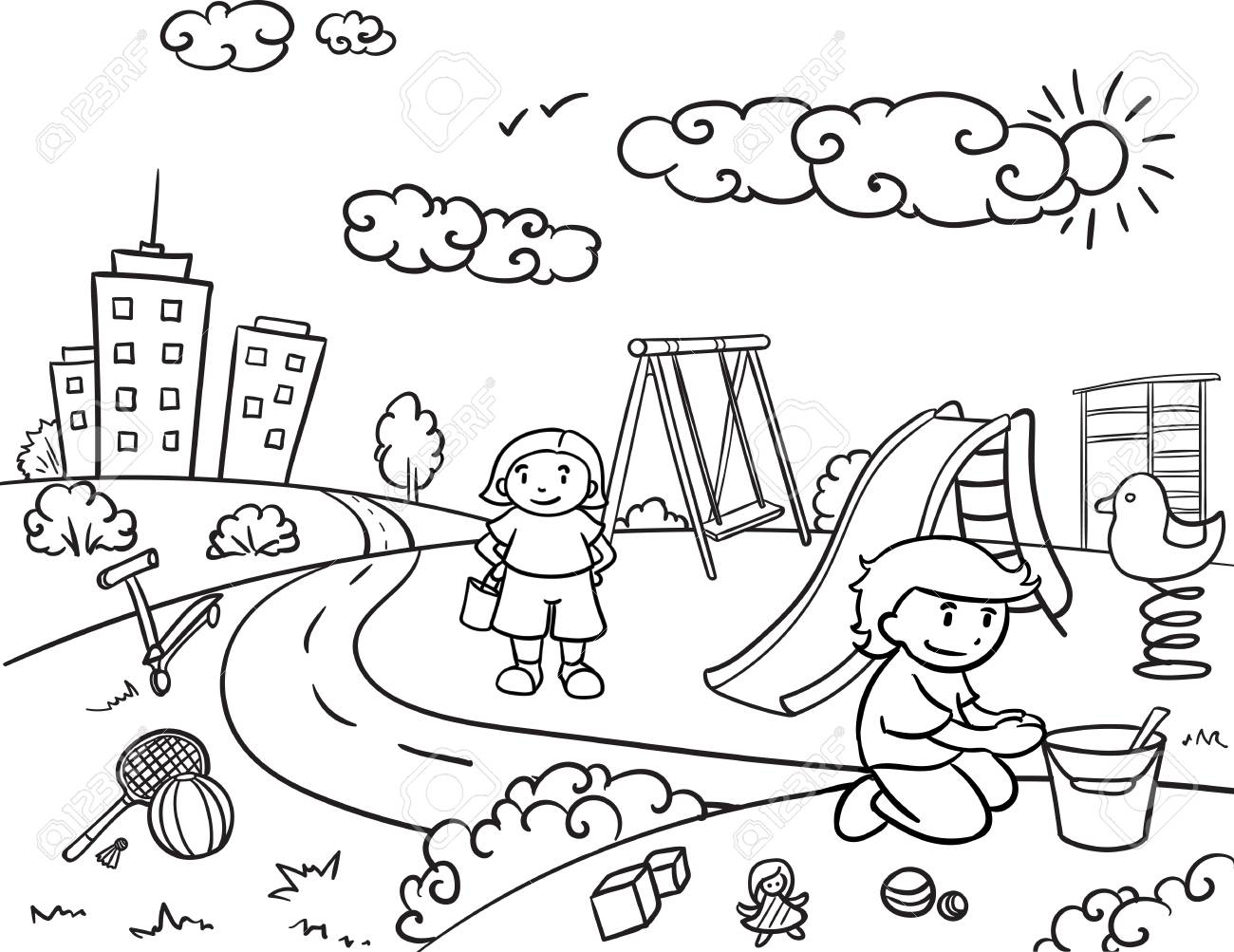 sketch children active outdoor recreation concept with kids playing