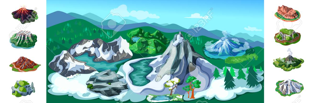 Colorful Nature Landscape Background With Beautiful Snowy Mountains Volcanoes Trees Hills Different Rocks And Peaks Vector