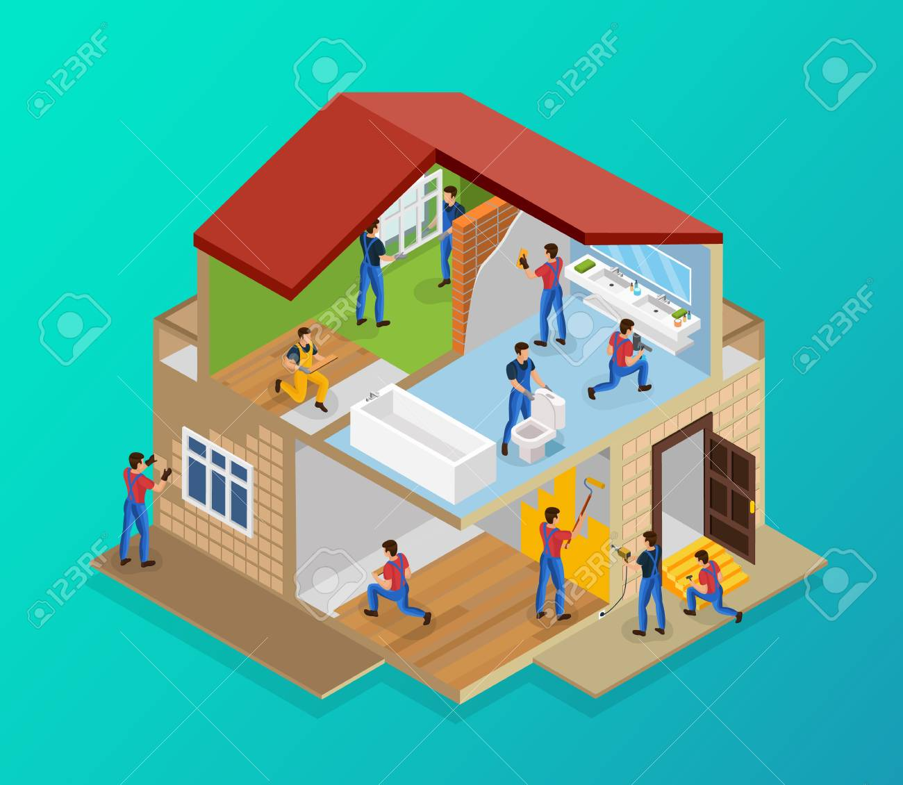 Isometric house renovation template with workers laying tiles flooring laminate painting walls repairing threshold installing windows plumbing vector illustration - 100264100