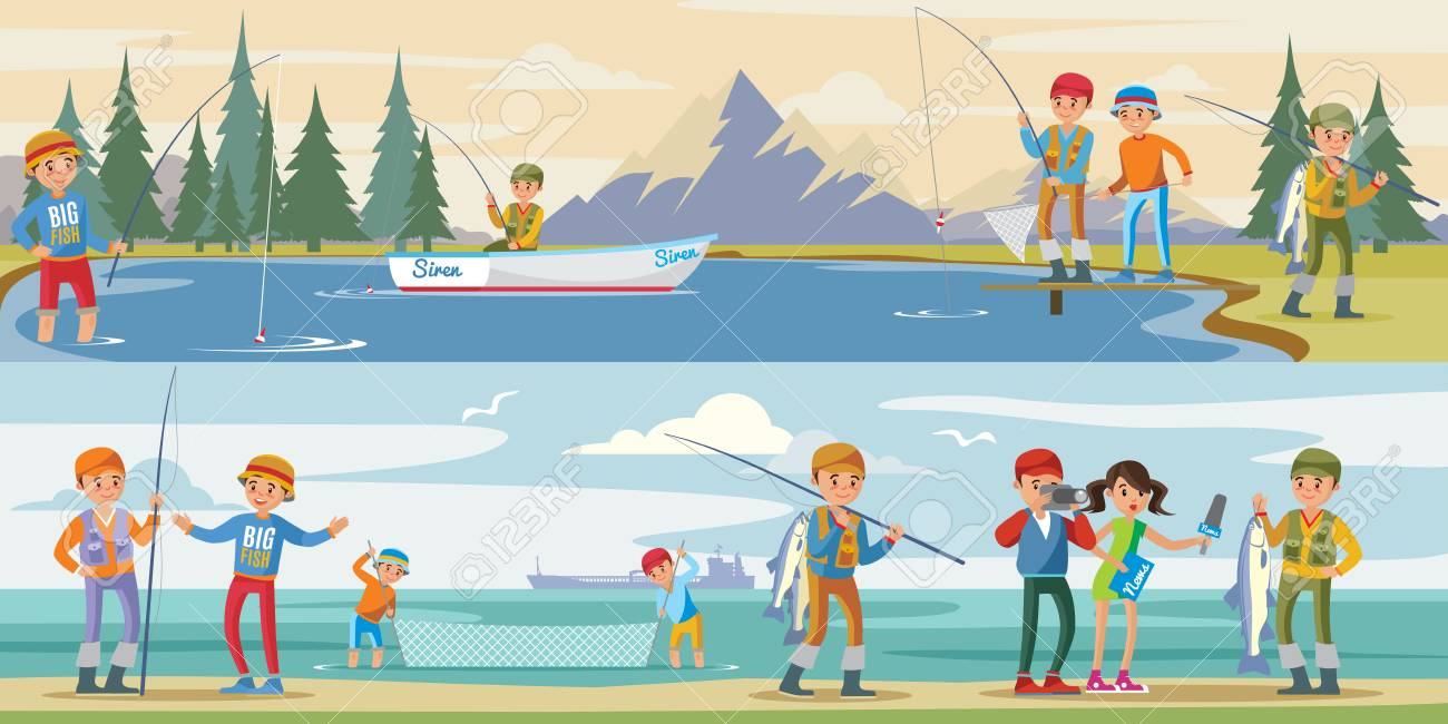 Outdoor activity horizontal banners with people fishing on lake and reporters interview fisherman catching big fish vector illustration - 100519298