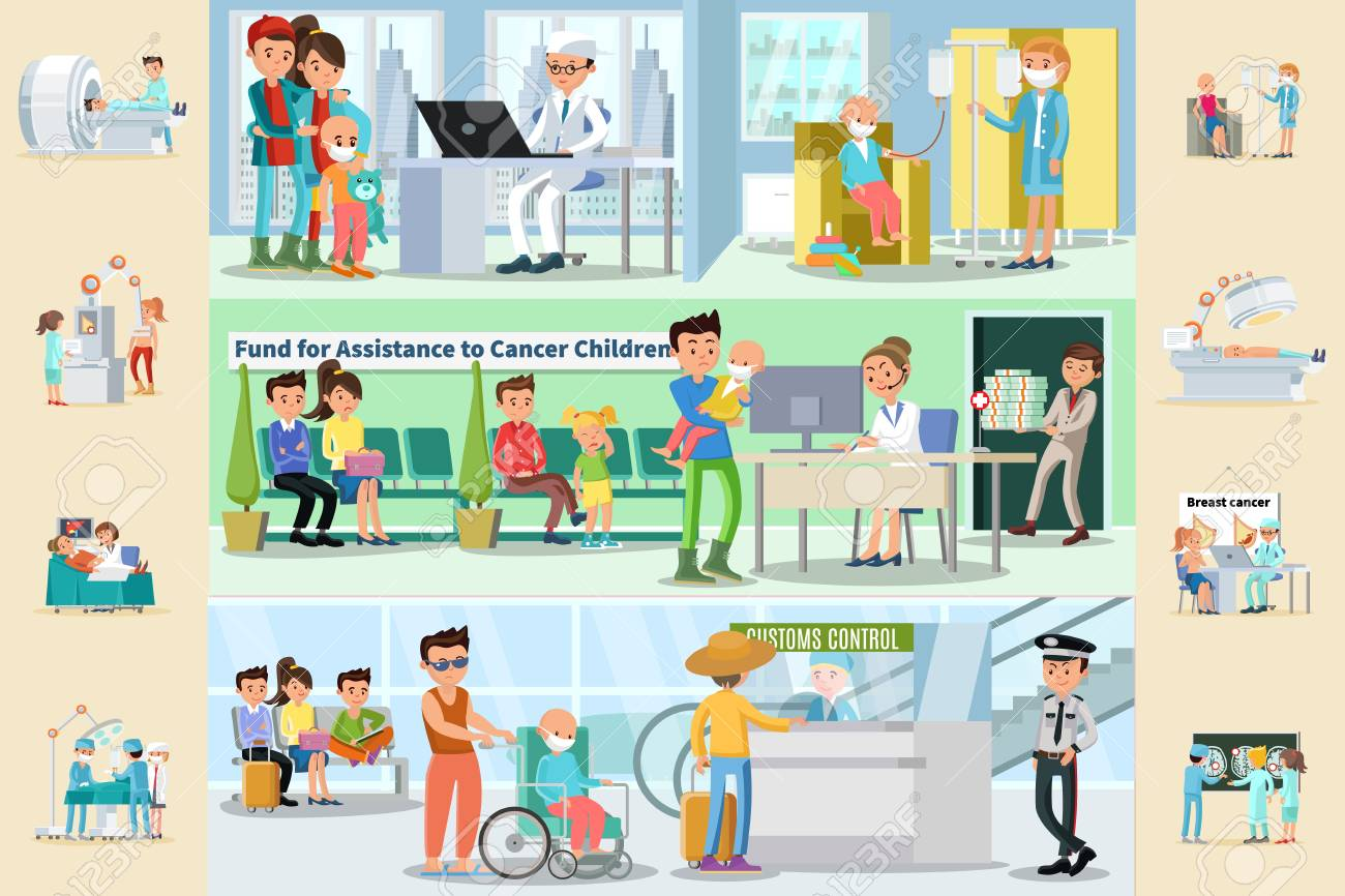 cancer disease horizontal brochures with medical treatment fund