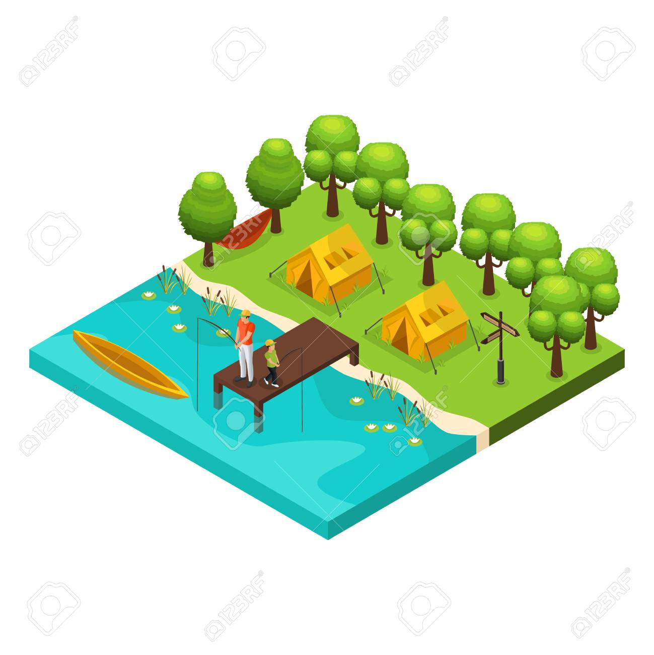 Isometric weekend recreation concept with father and son fishing together on lake isolated vector illustration - 102340114