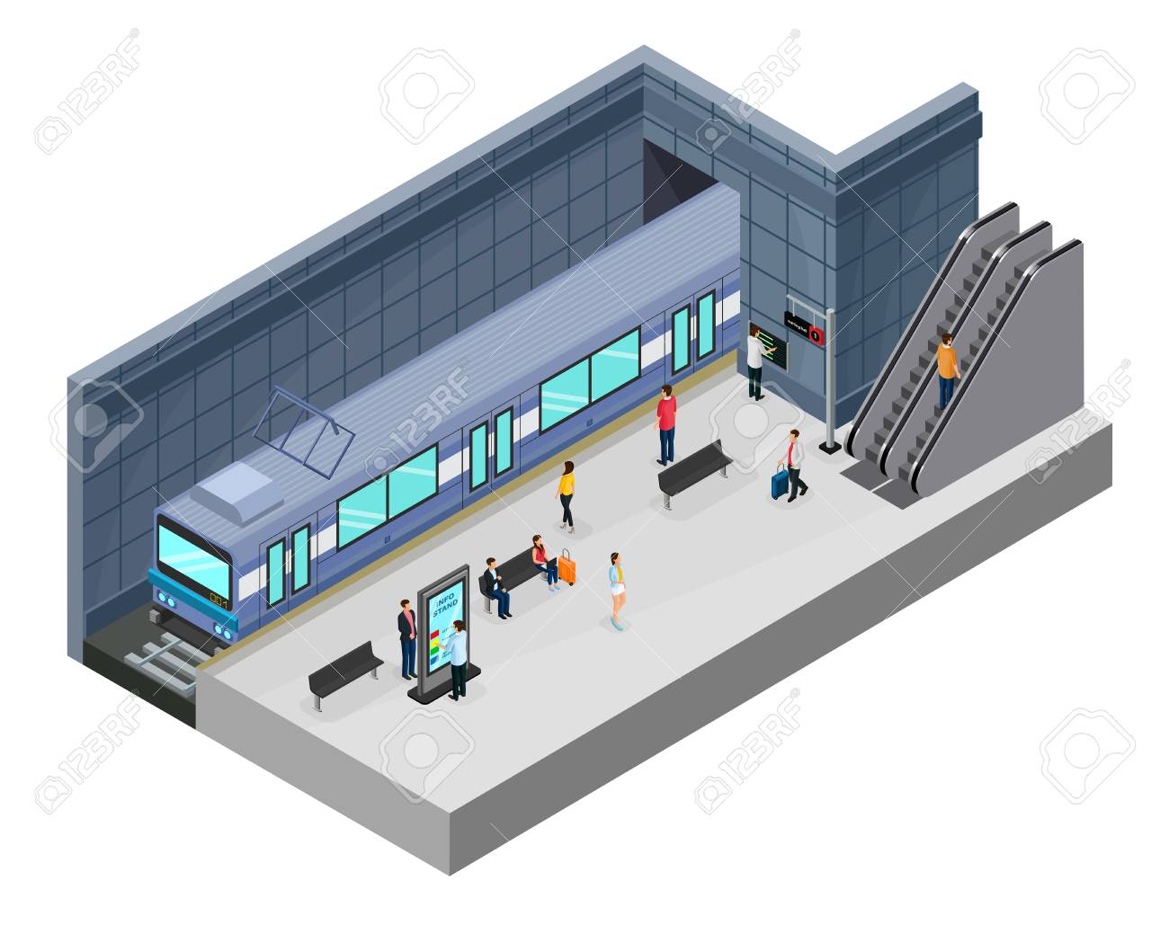 Isometric subway station concept with passengers on platform train escalator information stand and seats isolated vector illustration - 102340173