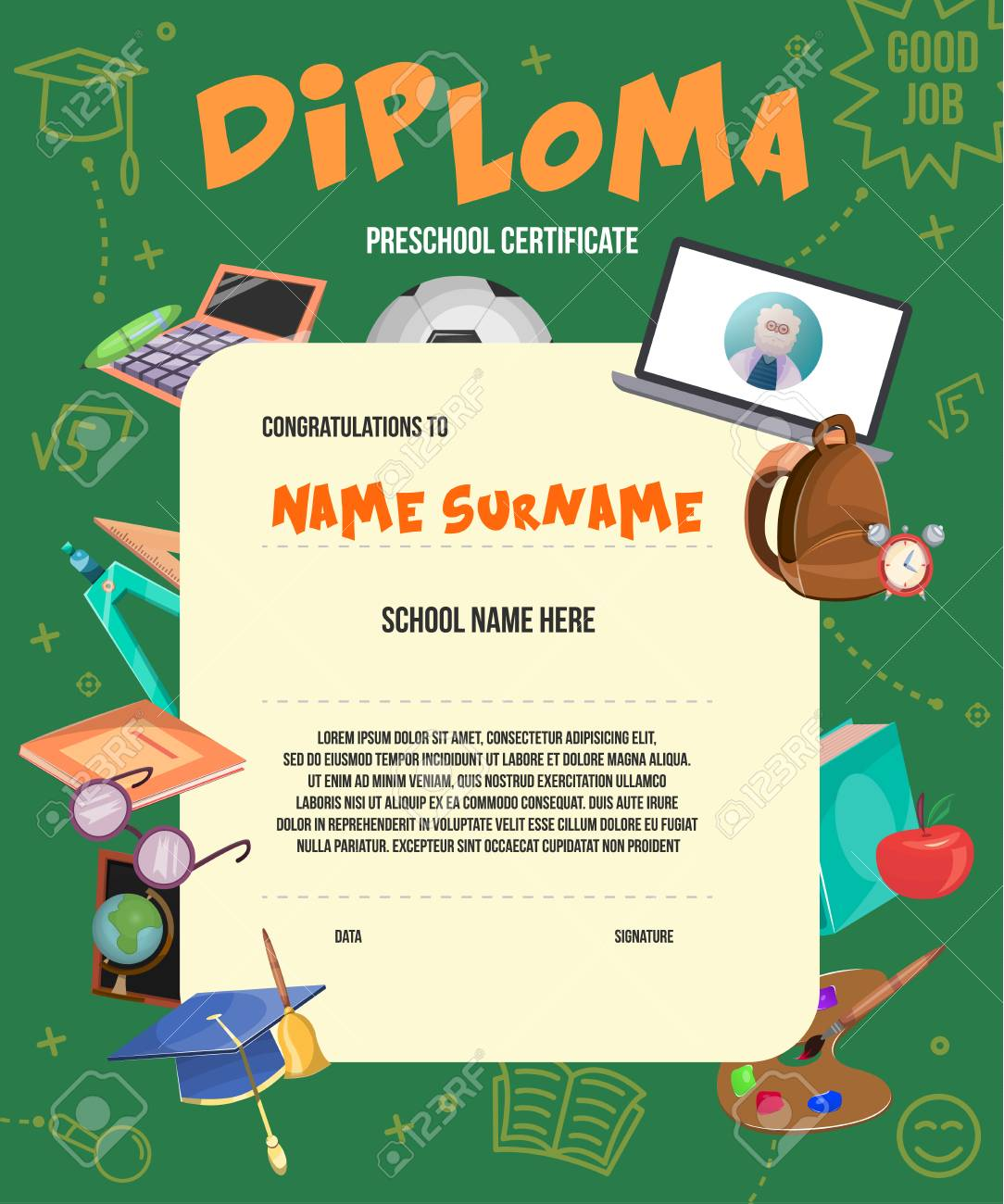 Flat Kids Diploma Certificate Template With Frame For Text Laptop
