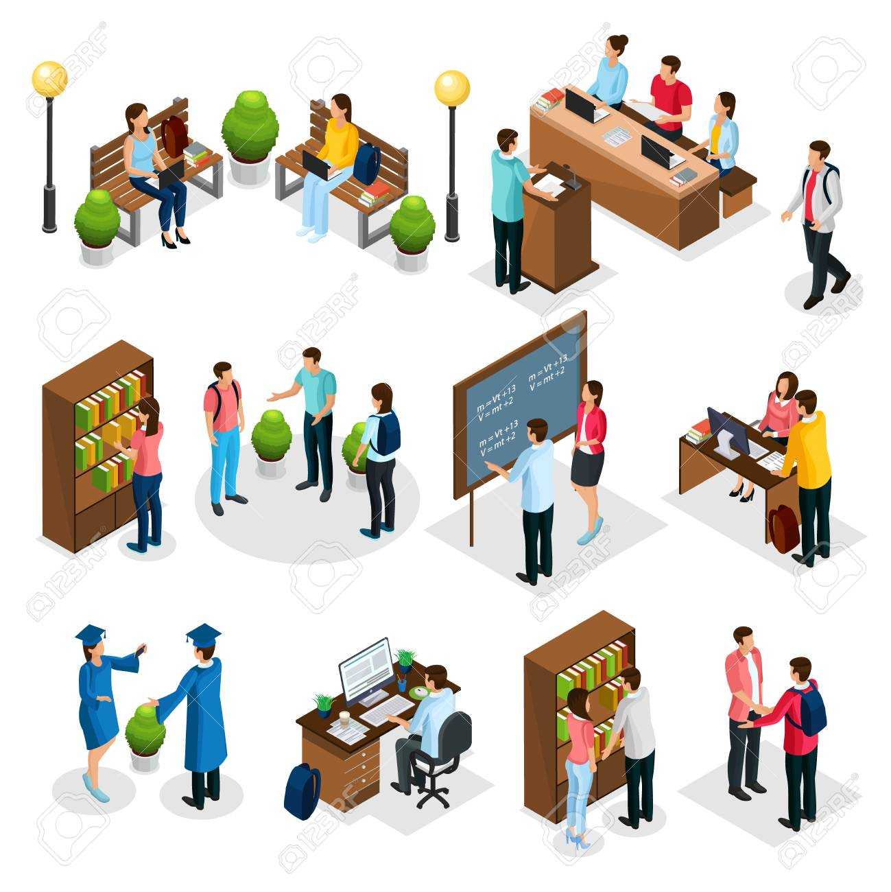 Isometric students in university set with graduates people learning reading taking examination visiting library lecture doing homework isolated vector illustration - 104702921