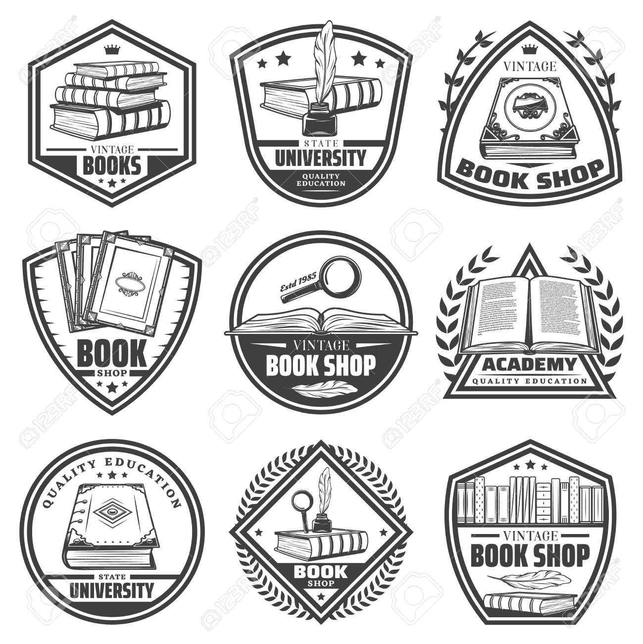 Vintage monochrome bookstore labels set with inscriptions books feathers bookshelf magnifiers inkwell isolated vector illustration - 104293319