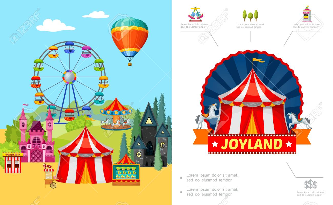 Cartoon amusement park concept with ferris wheel castle horror house food cart ticket booth shooting gallery hot air balloon vector illustration - 105155909