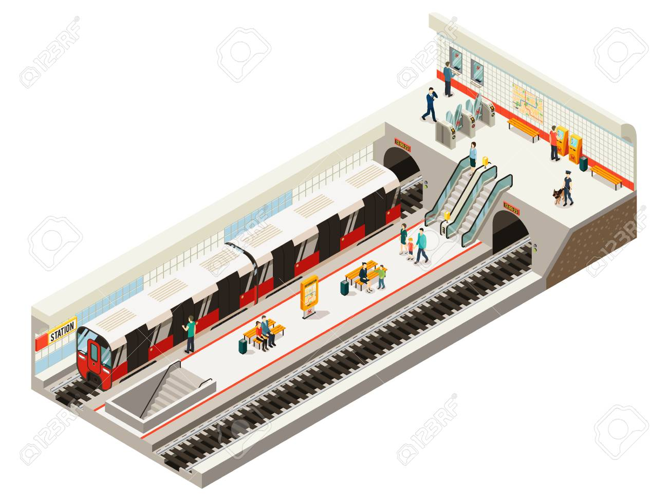 Isometric subway station concept with train ticket gates information board escalator railroad benches passengers on platform isolated vector illustration - 105337512