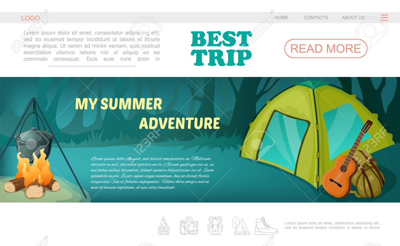 Cartoon c&ing web page template with navigation menu tent guitar backpack and pot on fire vector  sc 1 st  123RF.com & Cartoon Camping Web Page Template With Navigation Menu Tent Guitar ...