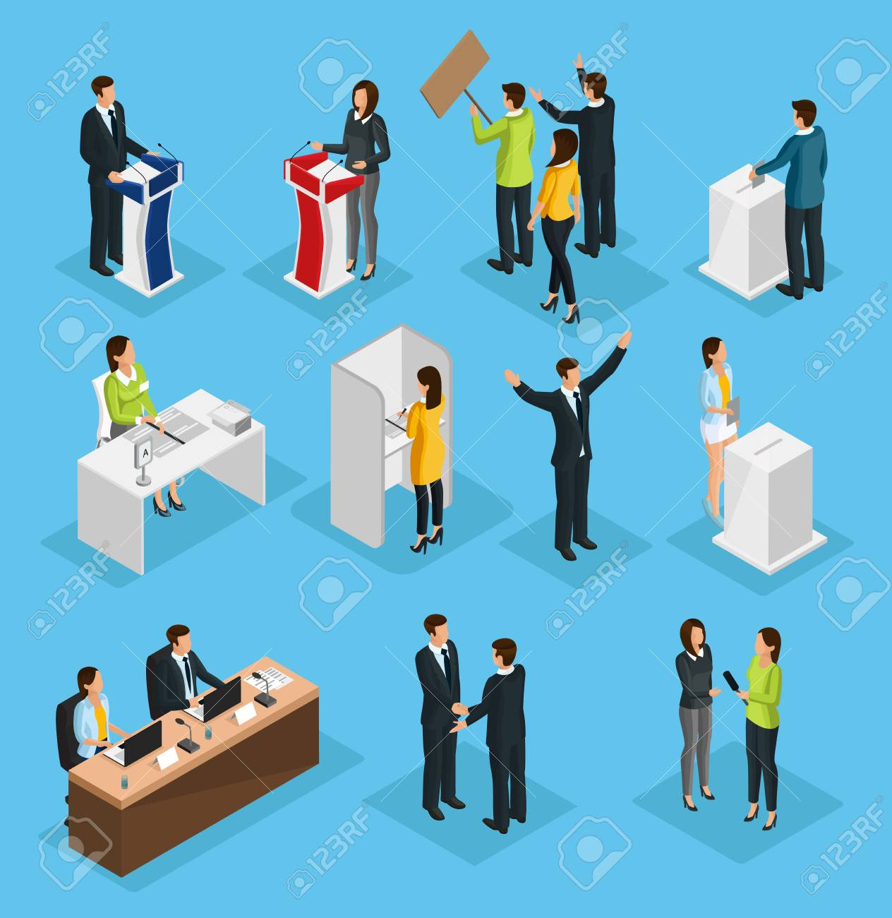 Isometric people election set with political debates campaign voting process ballot booth candidates interview isolated vector illustration - 108740206