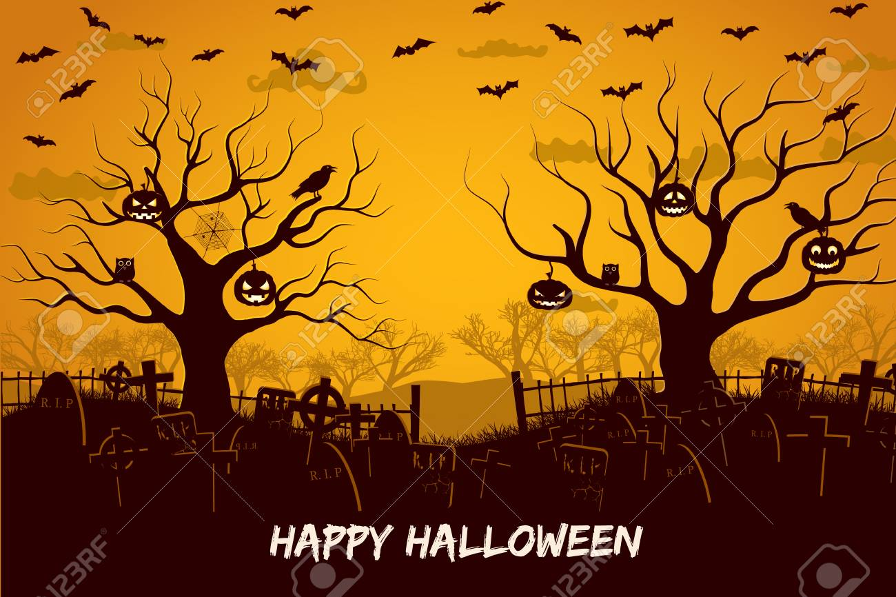 Happy halloween composition with birds and lanterns at trees cemetery and flying bats at sunset vector illustration - 108838081