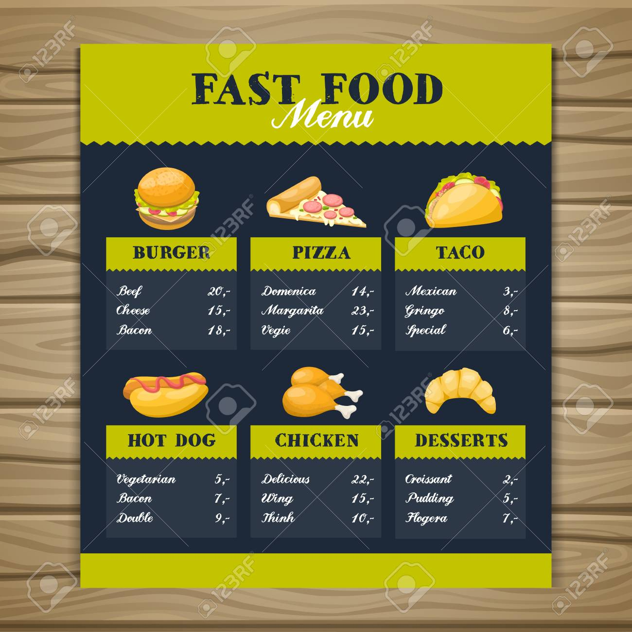 Fast Food Restaurant Menu Template With Burger Pizza Taco Hot Royalty Free Cliparts Vectors And Stock Illustration Image 113457578