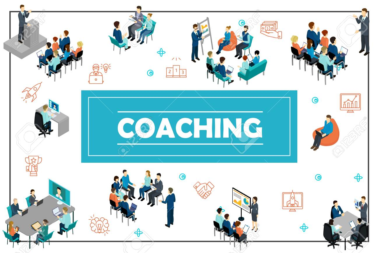Isometric business training concept with public speech online conference staff coaching presentation consultation brainstorming seminar vector illustration - 127103190