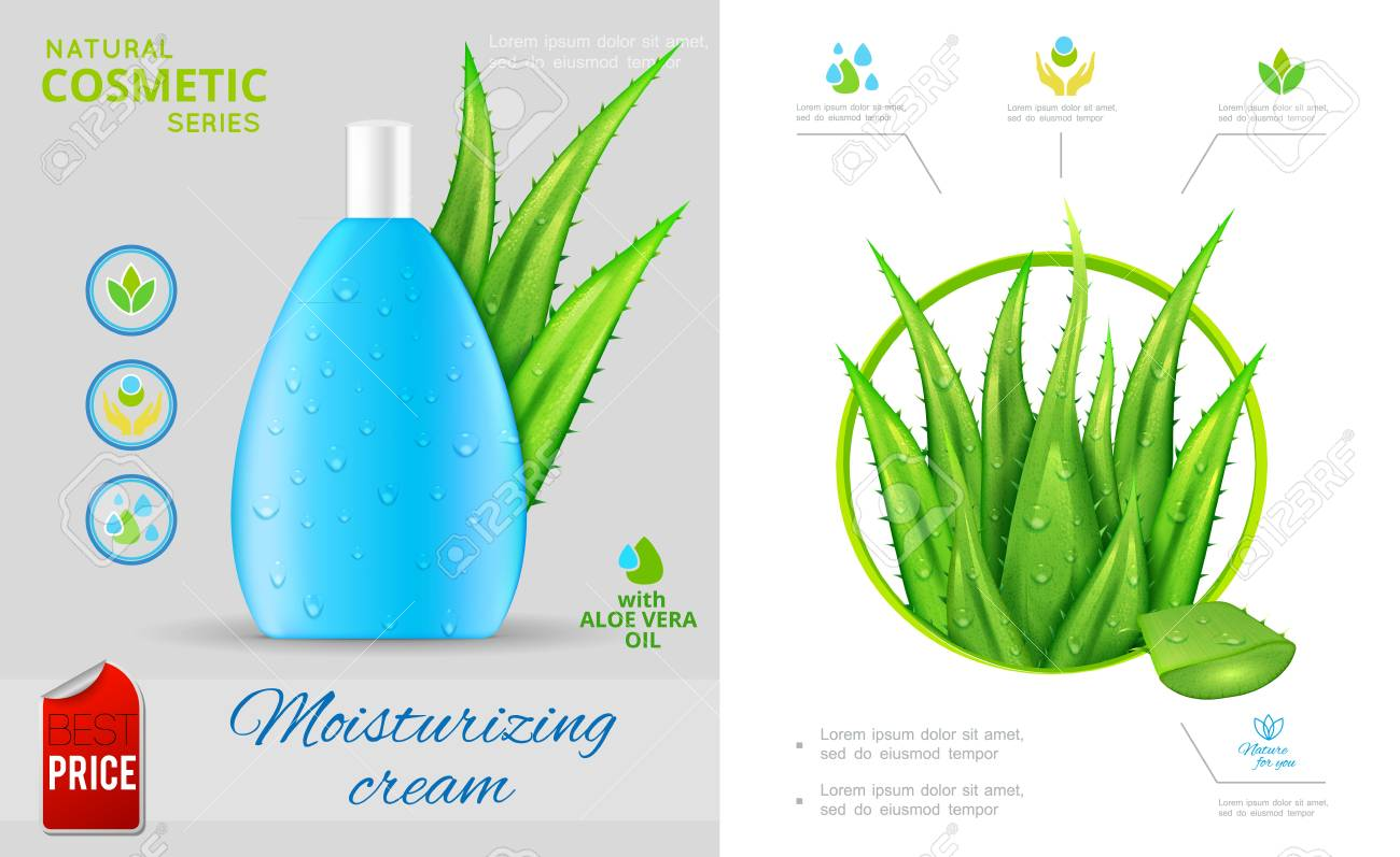Realistic natural cosmetic concept with aloe vera plant and bottle of moisturizing cream vector illustration - 126677988