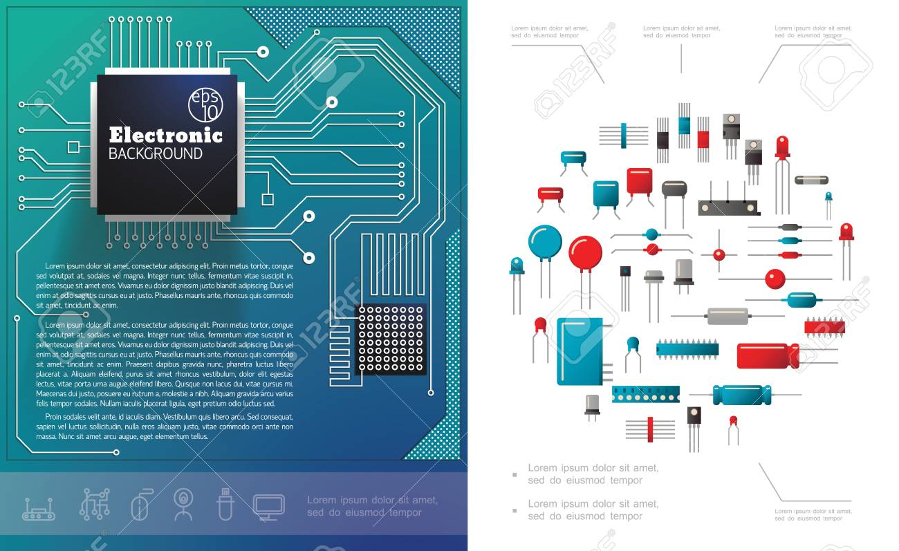 Flat electronic components concept with electric circuit board microchips diodes capacitors and transistors vector illustration - 125723655
