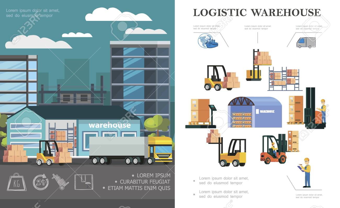 Flat warehouse logistics concept with truck loading process storage workers forklifts different boxes and containers vector illustration - 128174655