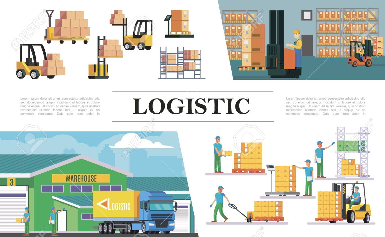 Flat warehouse logistics composition with truck forklifts storage workers boxes loading weighing lifting and transportation processes vector illustration - 127738163
