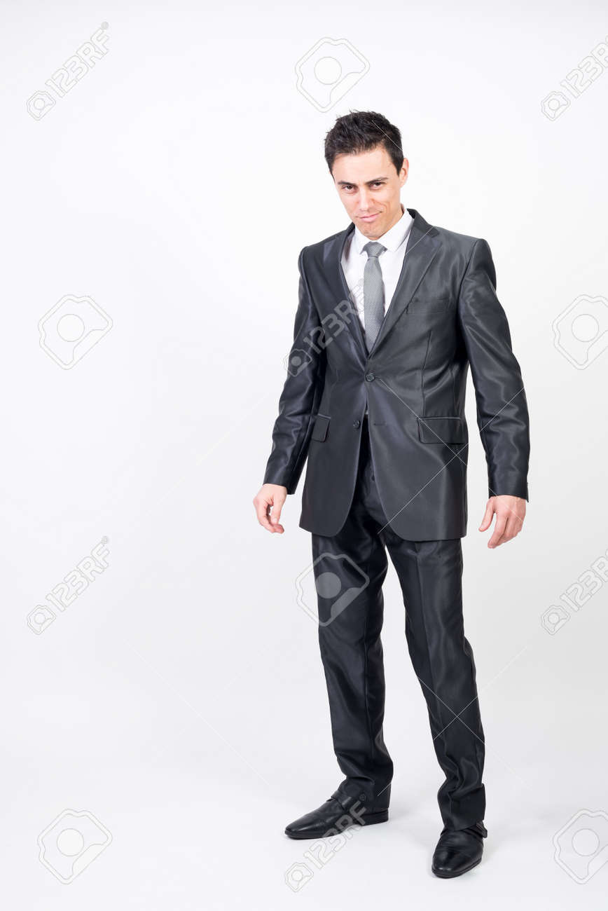 Seductive man in suit. White background, full body - 159164462