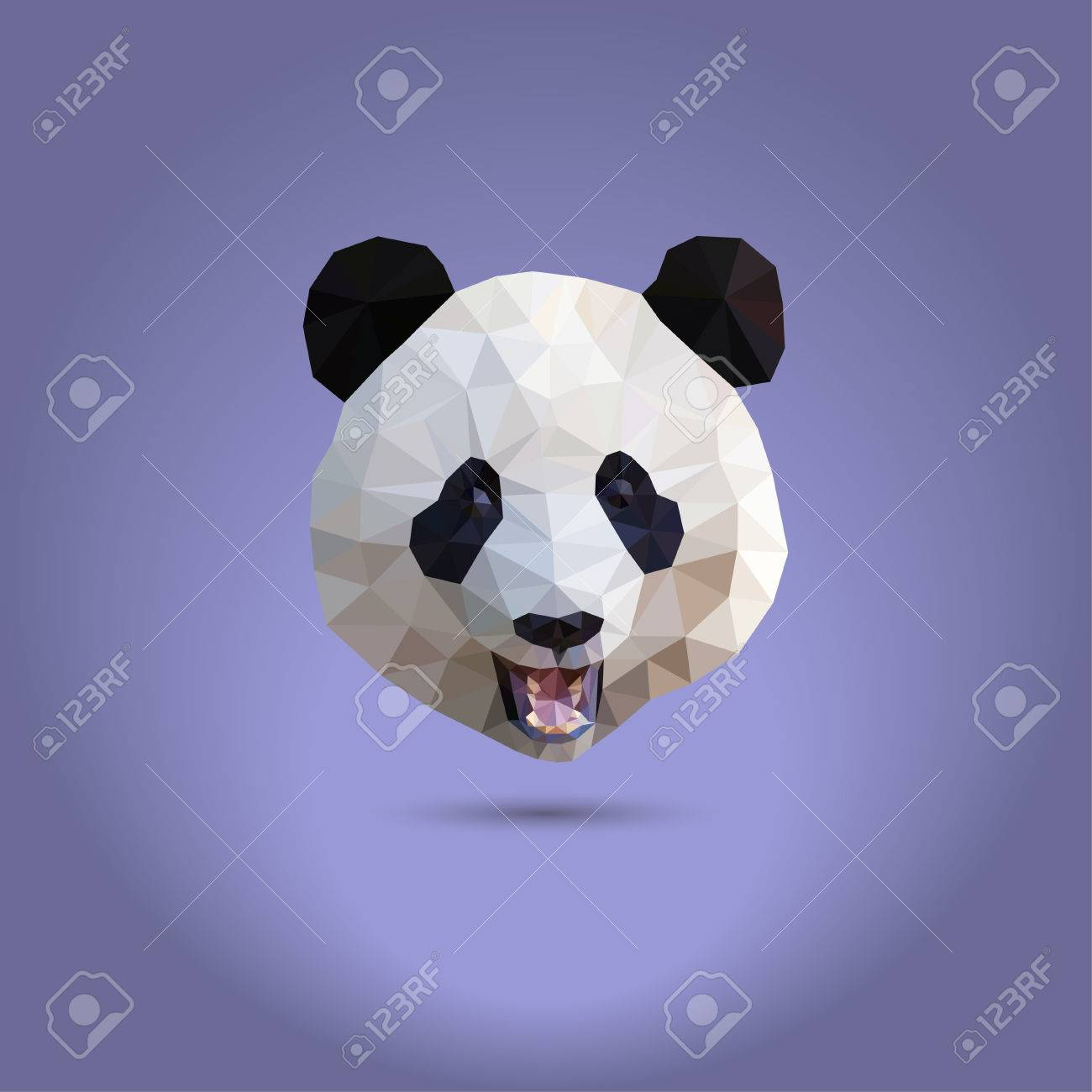 Low Poly Panda The Head Of A Chinese Bear From Triangles Suitable For Printing
