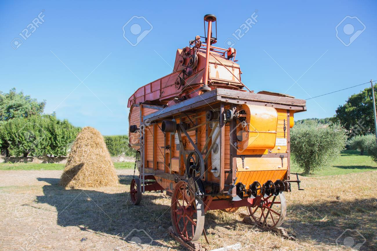 Old combine harvester on display only for trial use