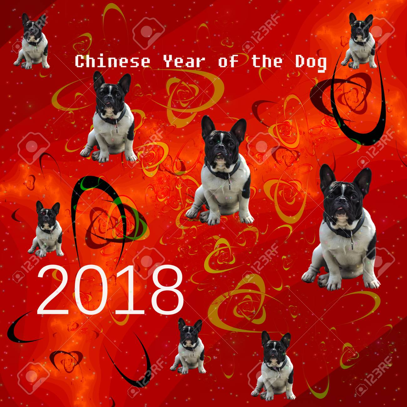 2018 happy new year greeting card cute french bulldog on a fractal bright red background