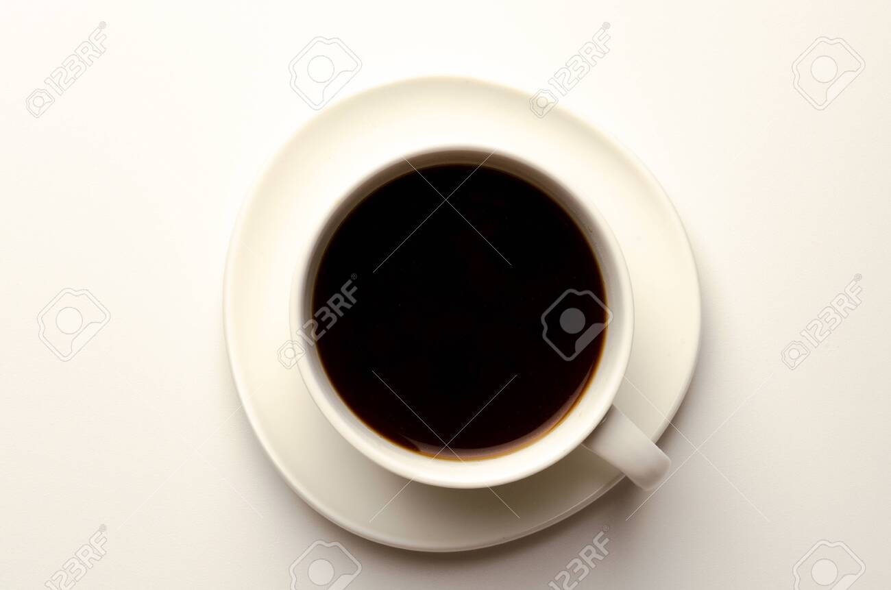 Top view of a cup of coffee, isolate on white - 130647285